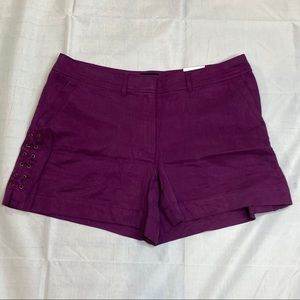 """WHBM The 5"""" Short Purple with Lace Up Sides 12 S3"""